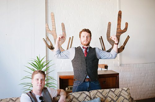The Shack Band's photo shoot at Highpoint and Moore with all vintage, eclectic rentals by Paisley and Jade