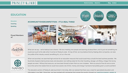 Paisley and Jade eclectic and vintage furniture rentals for trade shows weddings corporate events and film and theatrical productions