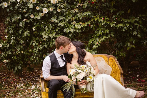 Beautiful and romantic elopement wedding at Sabot at Stony Point in Richmond Virginia featuring vintage furniture rentals by Paisley and Jade