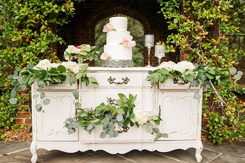 Beautiful blush romantic wedding inspiration shoot by Hearts Content Events at Hermitage Museum and Gardens with vintage and eclectic furniture rentals by Paisley and Jade