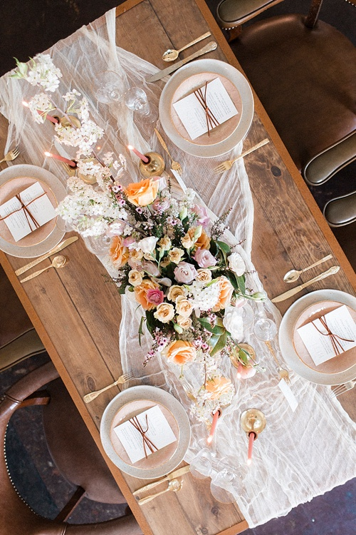 Gorgeous feminine and forest wedding inspiration styles shoot by Glint Events at Paisley and Jade showroom in Richmond Virginia
