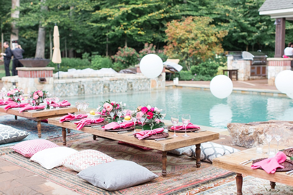 Gorgeous girls night out party poolside in Leesburg, Virginia with specialty rentals by Paisley and Jade