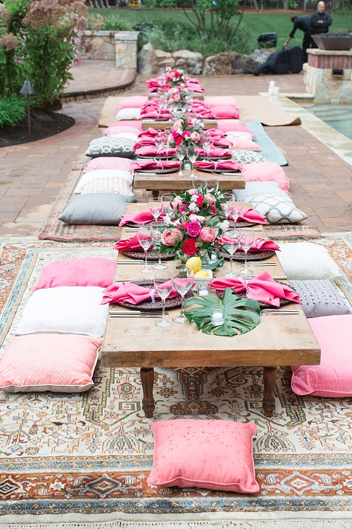 Gorgeous girl's night out poolside party in Leesburg, Virginia with specialty rentals by Paisley and Jade