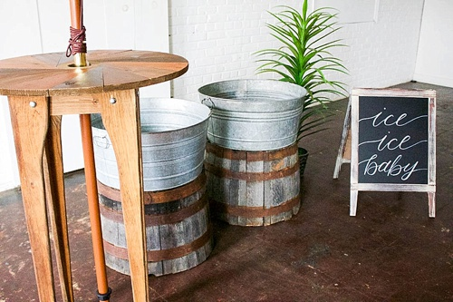 Simple ways to style vintage wine barrel halves by Paisley and Jade