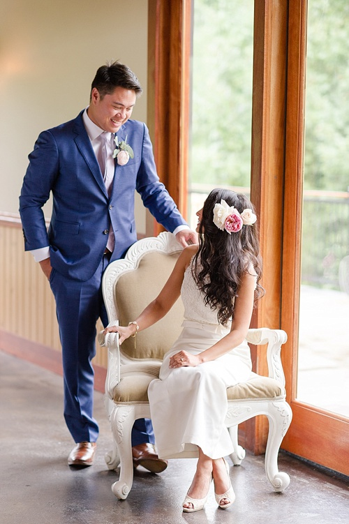 Romantic blush wedding inspiration shoot at Ashton Creek Vineyards with specialty chair rentals by Paisley and Jade