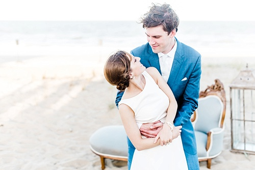 Romantic seaside ceremony in Virginia Beach with specialty rentals by Paisley and Jade
