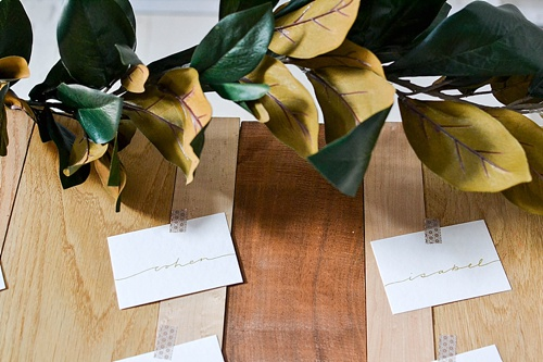 Simple and chic guest seating charts created with rental pieces by Paisley and Jade