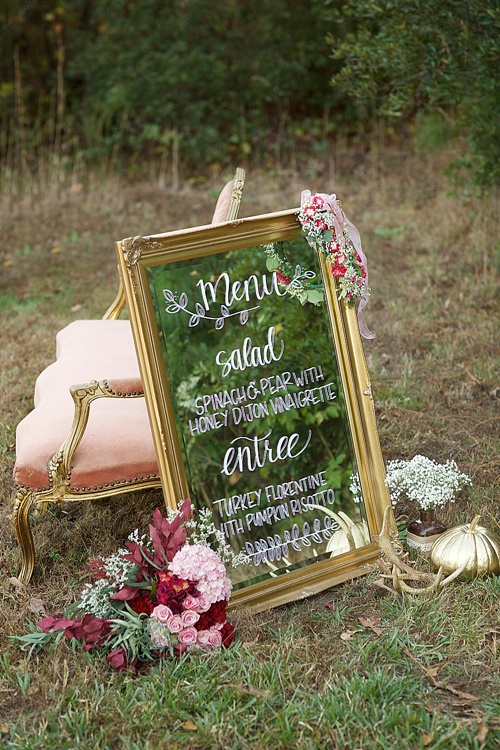 Beautiful cranberry inspired Fall styled shoot in a Virginia Forest with specialty rentals by Paisley and Jade