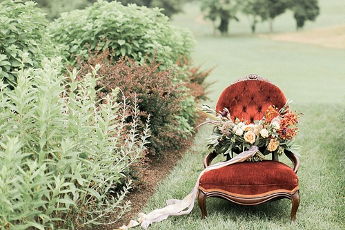Richly Colored and Romantic Wedding Inspiration Photo Shoot at Early Mountain Vineyards with specialty rentals by Paisley and Jade