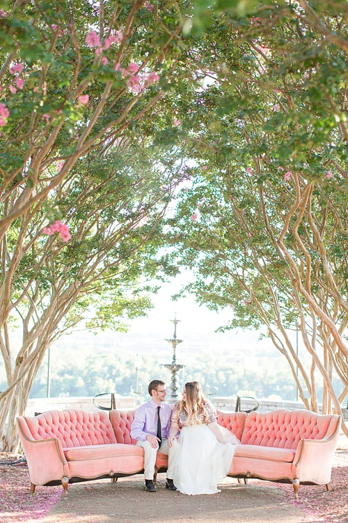 Gorgeous engagement photo shoot at Libby Hill Park in Richmond Virginia captured by Shalese Danielle Photography planned by Posh PR with vintage sofa rental by Paisley & Jade