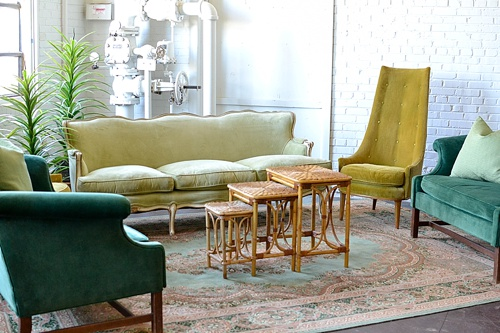 Pantone color of the year inspired lounges and dining designs created and styled with rental items by Paisley & Jade