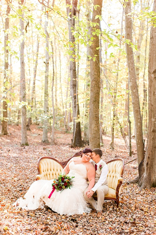 Enchanting Fall forest wedding at Stevenson's Ridge captured by Bethanne Arthur Photography with specialty and vintage rentals by Paisley & Jade