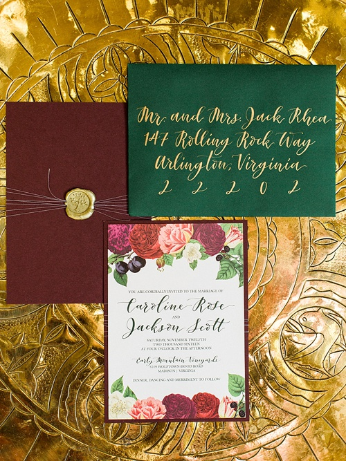 Emerald and gold wedding styled shoot at Early Mountain Vineyards by Amy Nicole Photography with specialty and vintage rentals by Paisley & Jade