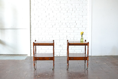 Vintage Teak End Tables available for rent by Paisley & Jade