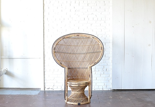 Oversized Wicker Peacock Chair available for rent by Paisley & Jade