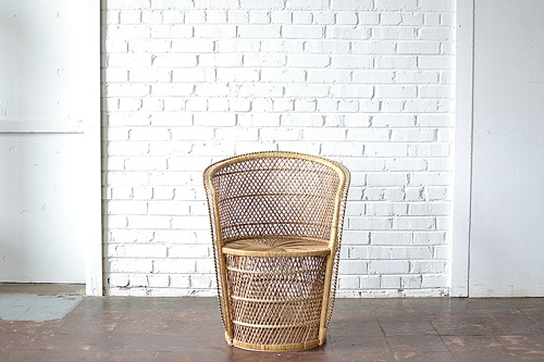 Wicker Barrel Chair available for rent by Paisley & Jade