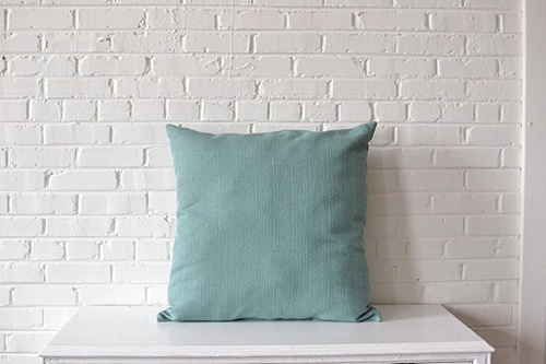 Oversized Light Blue Square Pillow available for rent by Paisley & Jade