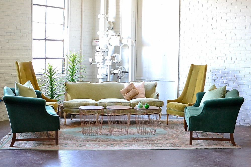 Pantone Color of the Year Inspired Vintage Lounge at Highpoint and Moore by Paisley & Jade