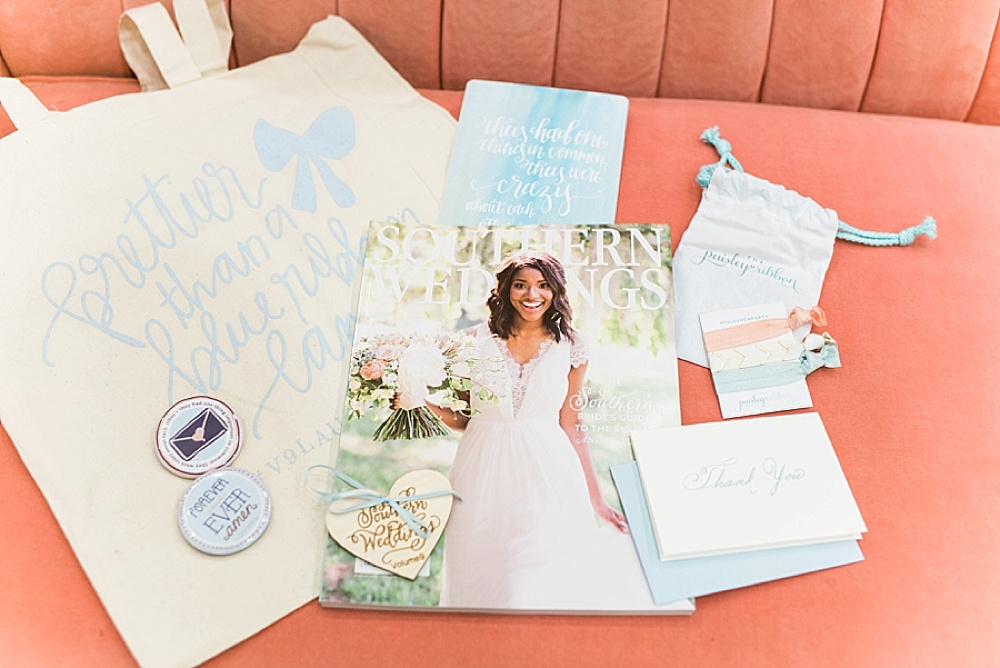 Southern Weddings V9 Chapel Charm shoot featuring vintage and specialty rental items by Paisley & Jade