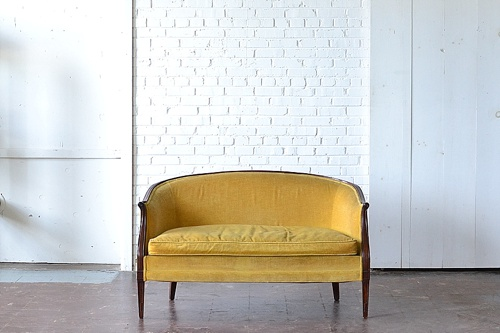 Vintage Rupert settee available for rent by Paisley & Jade