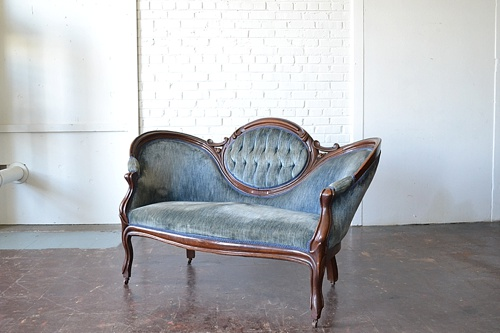 Vintage Estelle settee available for rent by Paisley & Jade