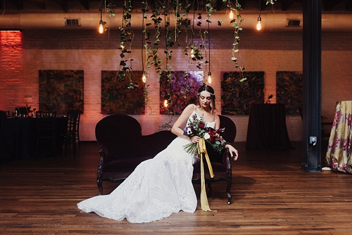 Eclectic and artsy wedding inspiration at The Hofheimer Building in Richmond Va with specialty rentals by Paisley & Jade. Images by Alex C Tenser Photography