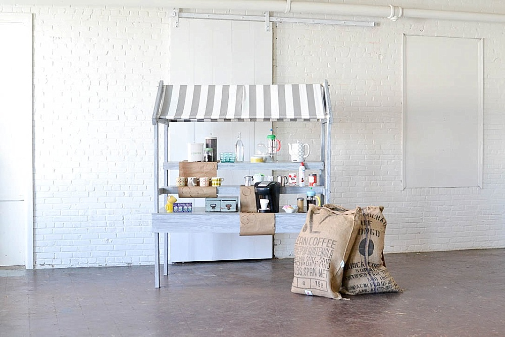 Cool coffee bar for events or parties created with the Market Cart available for rent by Paisley & Jade