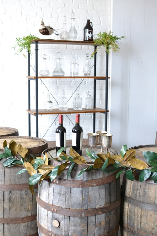 Half Moon Barrel Bar created with pieces available for rent by Paisley & Jade