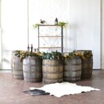 Half Moon Barrel Bar created with vintage and specialty rental times by Paisley & Jade