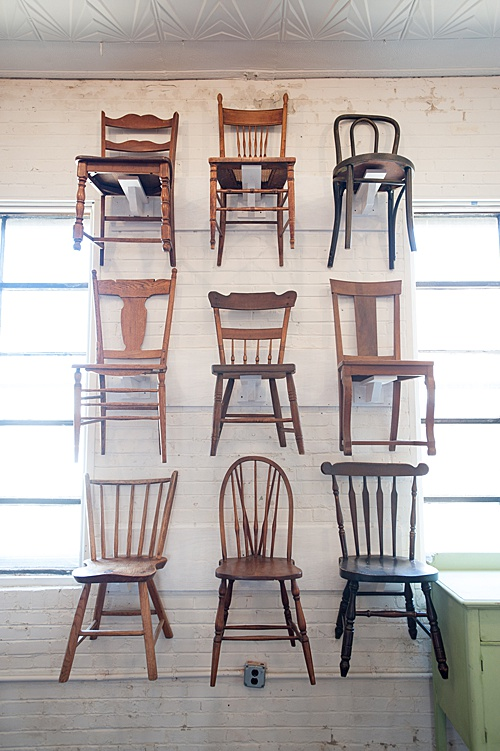 A Chair Wall is what dreams are made of! At least at P&J they are! Just a few of our many mismatched chairs are on display in our showroom at Highpoint & Moore!