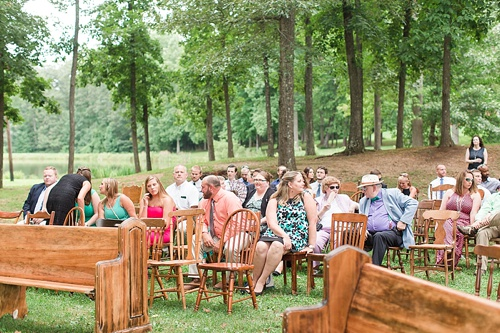 Gorgeous outdoor wedding ceremony on the campus of Hampden-Sydney College in Virginia featuring ceremony seating by Paisley & Jade