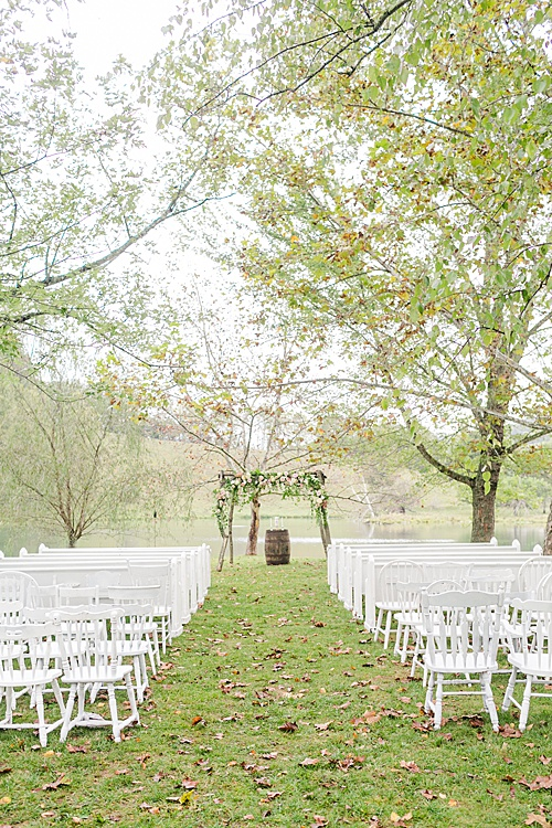 Paisley & Jade sponsored a Wedding Giveaway at Big Springs Farm and their vintage and speciality rentals were seen throughout the couples special day, like the white mismatched chair and white church pews!