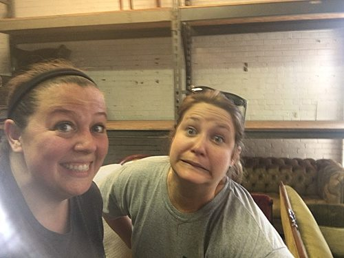 Paisley & Jade co-captains, Morgan & Perkins, prepping the showroom for a space rental!