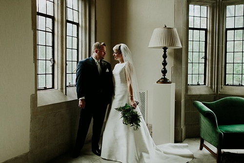 Elegant Emerald and White Winter Wedding at The Branch Museum of Architecture & Design in Richmond, Va with specialty lounge rentals by Paisley & Jade