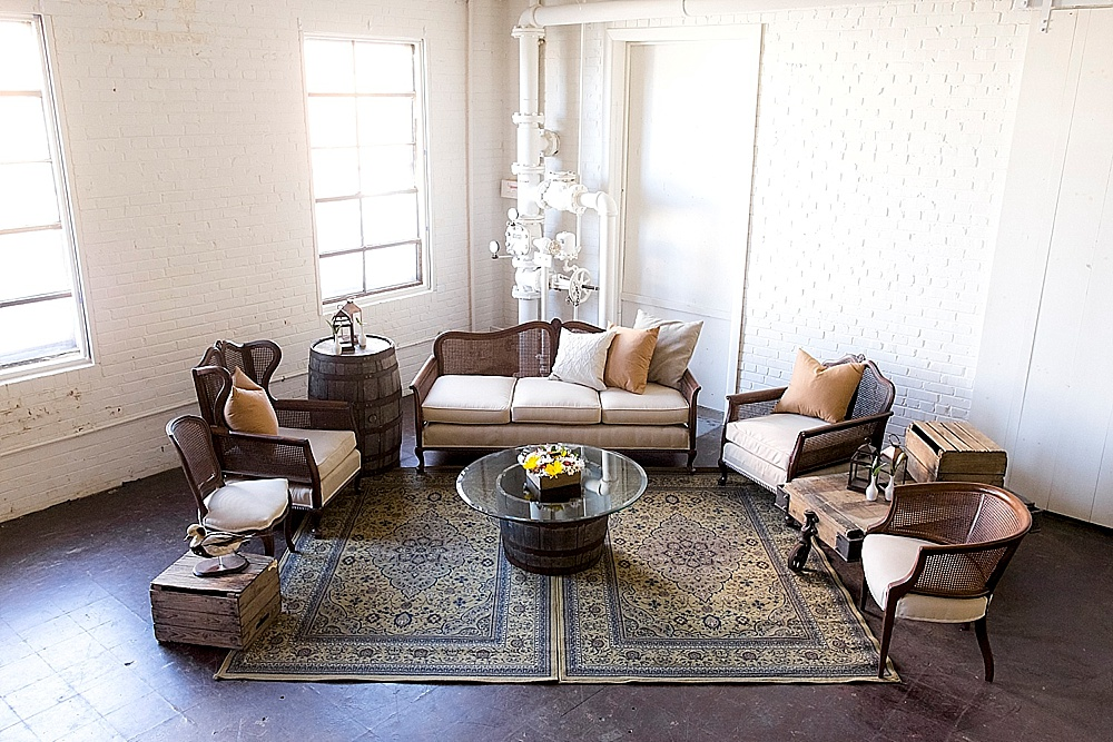 Pretty Patterson Lounge design with a rustic theme perfect for weddings or events available for rent by Paisley & Jade