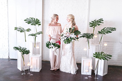 Tropical and white wedding inspiration with showroom and specialty rentals by Paisley & Jade