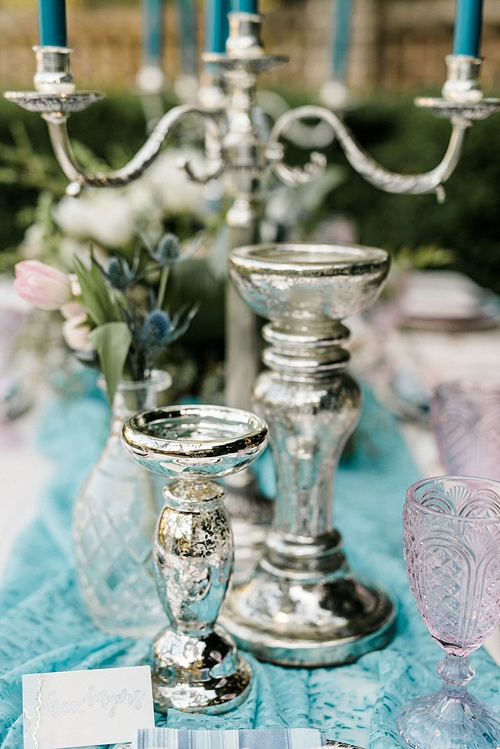 Inventory and event designs using pieces of the Silver Collection of smallwares available for rent by Paisley and Jade