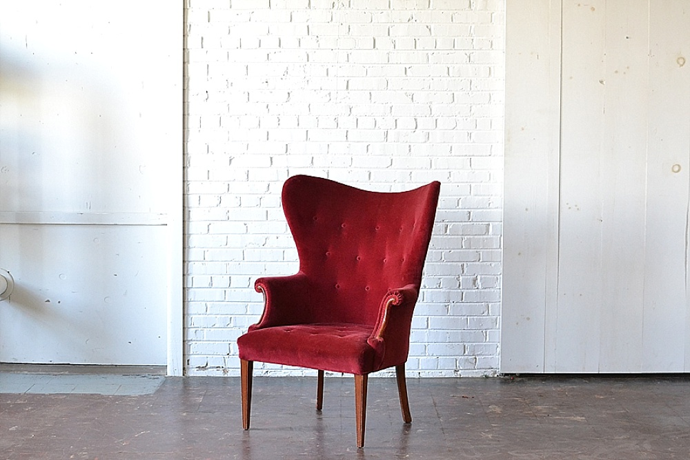 Vintage upholstered seating perfect as Santa Chair props for your holiday party available for rent by Paisley & Jade