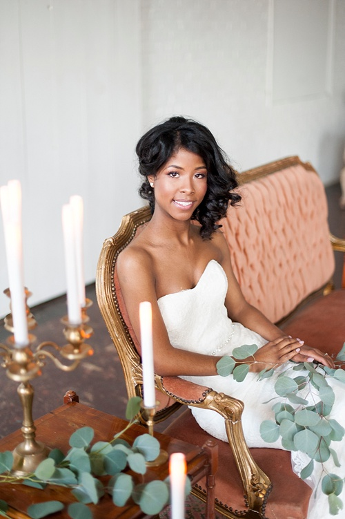 Breathtaking bridal portrait session by IYQ photography in the showroom at Highpoint and Moore with space and prop rentals by Paisley & Jade