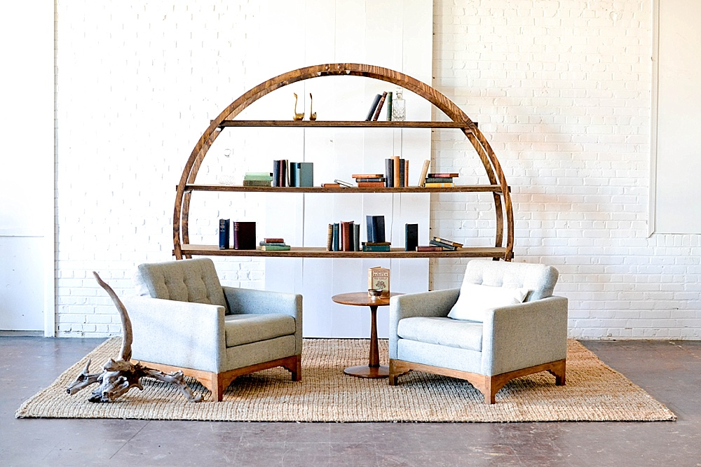 Our round wooden arbor designed and styled in three unique vignettes - all pieces available to rent for your event by Paisley & Jade