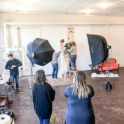 Behind the scenes photos of a gorgeous Spring editorial bridal shoot for Washingtonian Bride & Groom Magazine with space and vintage and specialty rentals provided by Paisley & Jade