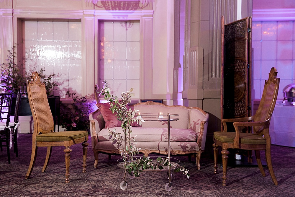 Luxurious hotel ballroom wedding reception in Richmond, Va with specialty rentals by Paisley & Jade
