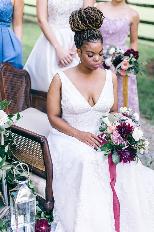 Romantic and elegant wedding inspiration at Seven Springs Farm in Virginia with specialty and vintage rentals by Paisley & Jade