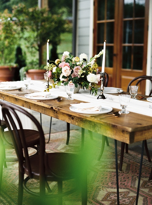 Romantic and elegant wedding inspirations styled shoot at Pippin Hill Vineyards with vintage and specialty rentals by Paisley & Jade