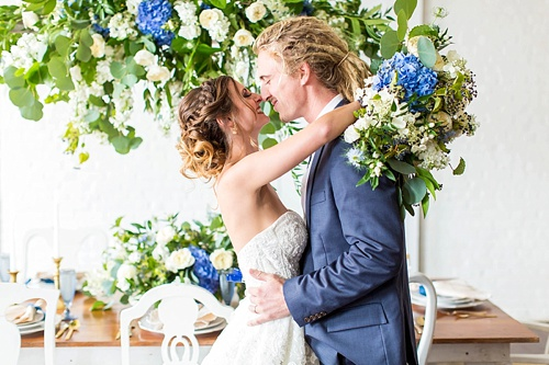 Beautiful white and blue wedding inspiration styled shoot from the Hope Taylor Photography Workshop with space and specialty rentals provided by Paisley & Jade