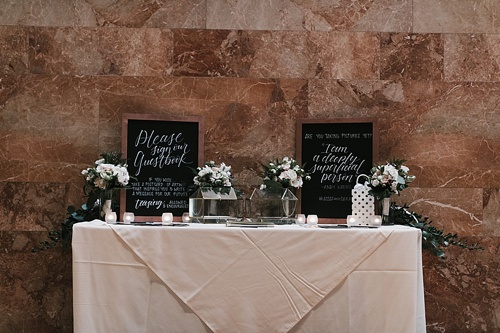 Elegant and modern real wedding at the Virginia Museum of Fine Art with specialty and vintage rentals and custom calligraphy provided by Paisley & Jade