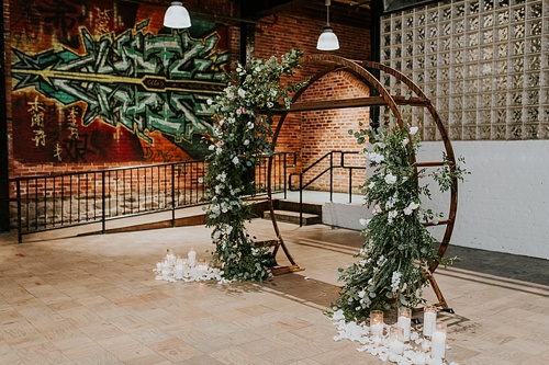 Swanky and industrial wedding inspiration shoot in Baltimore with specialty and vintage rentals by Paisley and Jade