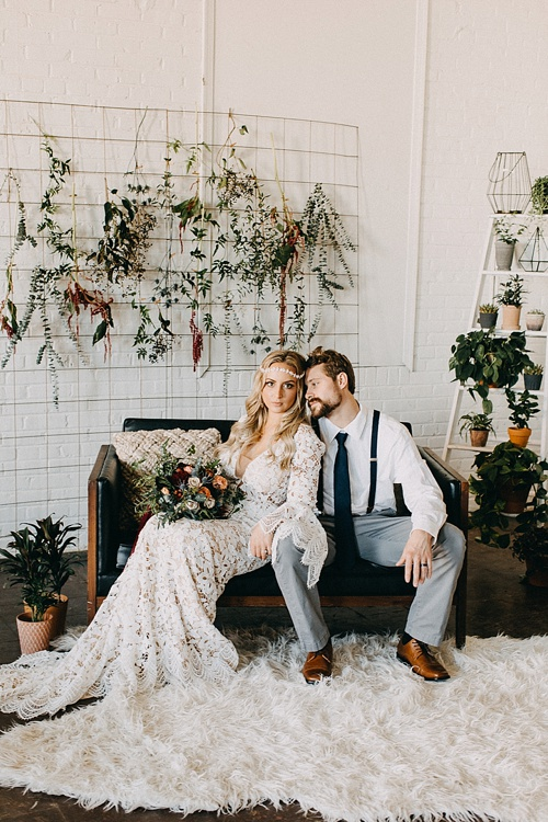 Earthy and Industrial styled shoot with boho-chic vibes. Specialty rentals and space provided by Paisley and Jade