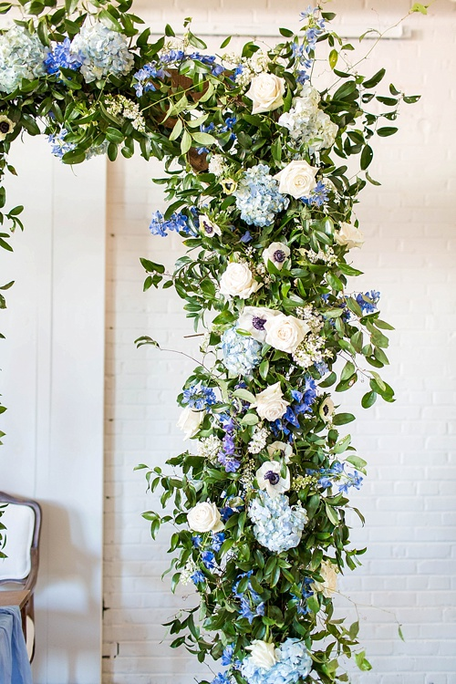 Romantic blue and white wedding inspiration at at styled shoot at the Hope Taylor Photography Workshop with rentals and space provided by Paisley and Jade