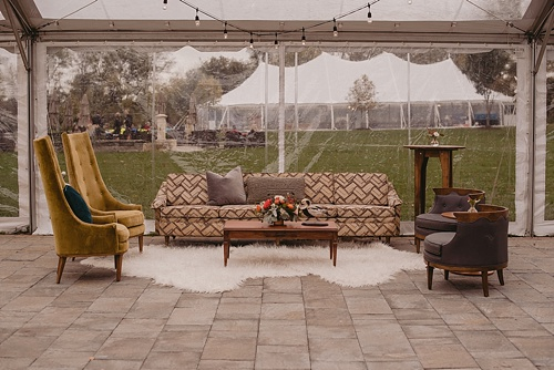 Modern and chic wedding at Upper Shirley Vineyards with specialty and vintage rentals provided by Paisley and Jade